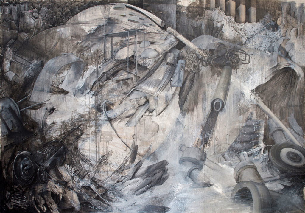 "Strafkolonie; acrylics, charcoal, chalk, mordant on canvas; 220 x 315 cm; 2013 / <a style=""http://greytime.net/wp-content/uploads/2016/03/2015_august_portfolio2.jpg"">View in full size</a>"
