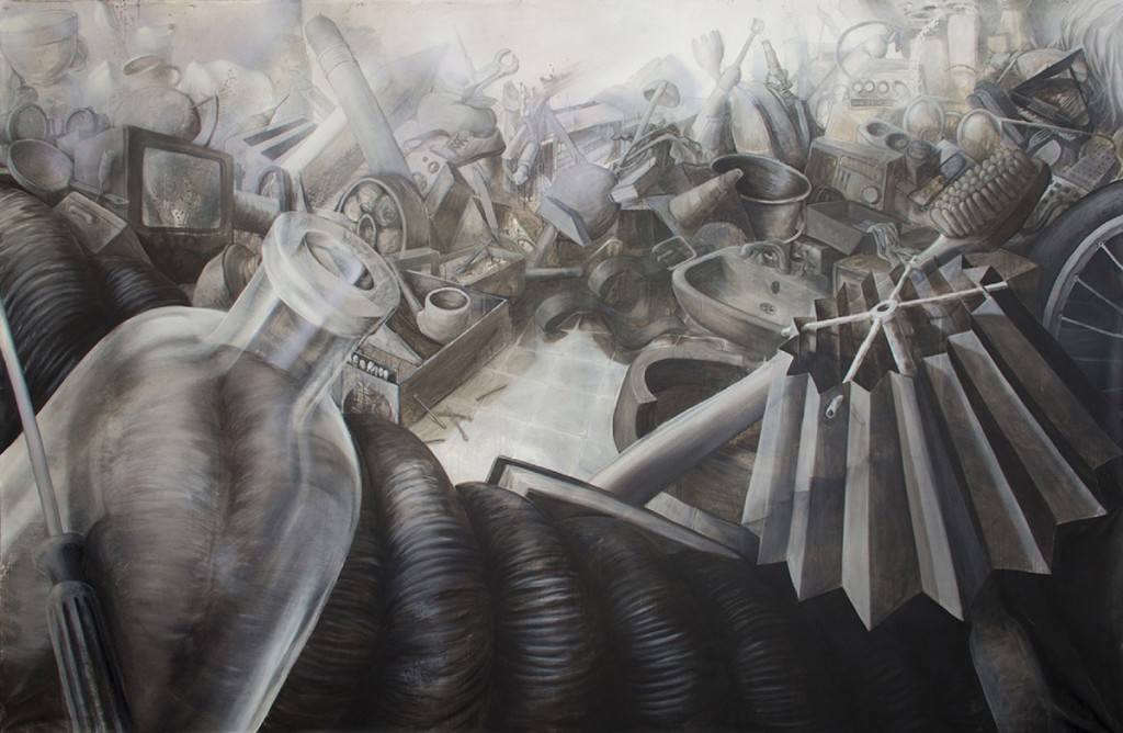 "Haushalt; acrylics, charcoal, chalk, mordant on canvas; 220 x 330 cm; 2014 / <a style=""font-weight: 600; color: #000;"" target=""_blank"" href=""http://greytime.net/wp-content/uploads/2016/03/2015_august_portfolio3.jpg"">View in full size</a>"